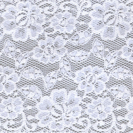 Lace Trim - Rose Floral Scallop Stretchy Lace - White - 6""
