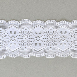 Lace Trim - Floral Scallop Stretchy Lace - White - 2.6""