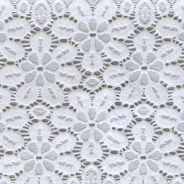 Lace Trim - Bold Floral Scallop Stretchy Lace - White - 6""