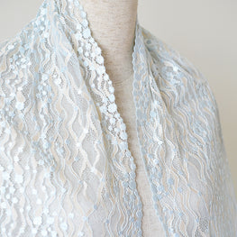 "Lace Trim - Polka Dot Mesh Lace - Blue & Cream (11"")"