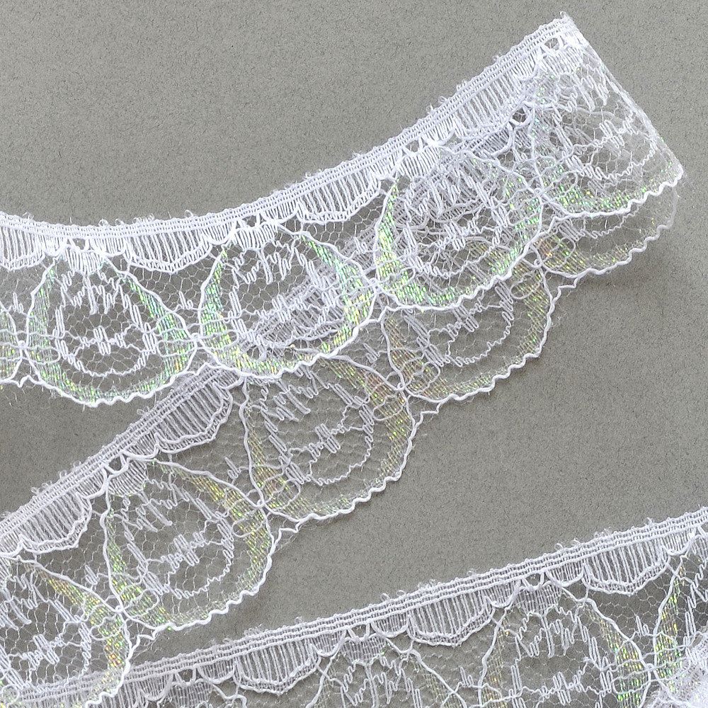 Lace Trim - Scallop Lace with Iridescent Shimmer - White - 1.4