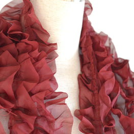 Ruffle Trim - Organza in Maroon (7 rows)