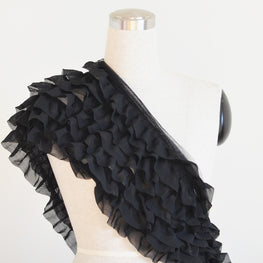 Ruffle Trim - Organza in Black (7 rows)