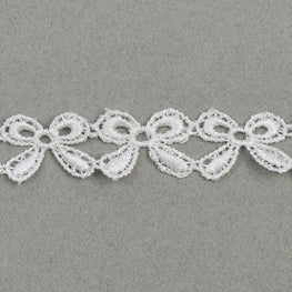 Lace Trim - Ribbon Bow Trim - White - 0.8""