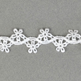 Floral Wavy Cotton Trim - White - 1""