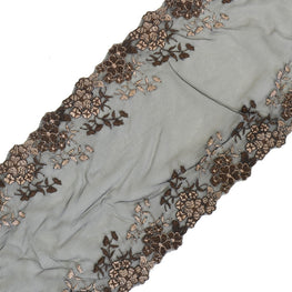 "Lace Trim - Floral Edged Mesh Lace - Brown (8"")"