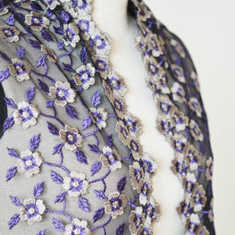 "Lace Trim - Floral Embroidered Edged Mesh Lace - Purple (9"")"