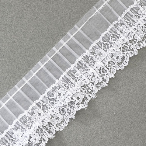 Double Layer Lace Edged Sheer Pleated Lace Trim - White - 2.25""