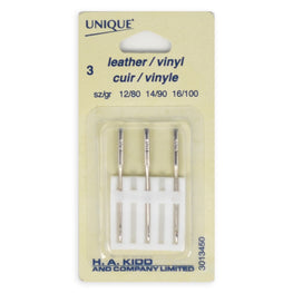 3pcs Leather/Vinyl Machine Sewing Needles (size 12/8, 14/90, 16/100)
