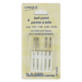 4pcs Ball Point Machine Sewing Needles - Knits and Fleece (size 9/70, 11/80, 14/90, 16/100)