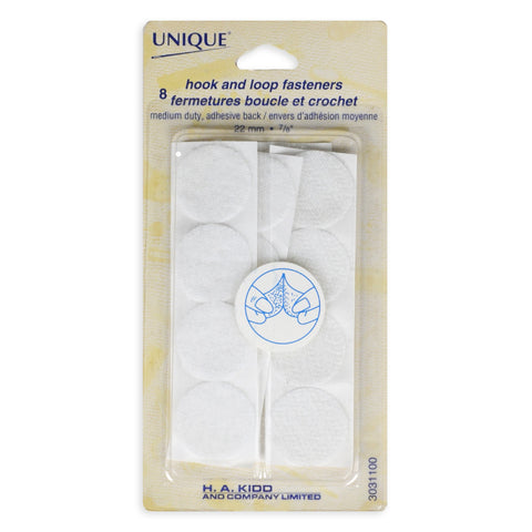 Velcro Circle Hook and Loop Fasteners - White (22mm)
