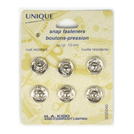 6 pairs Snap Fasteners - Silver (13mm)