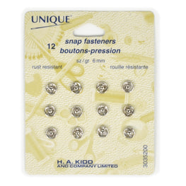 12 pairs Snap Fasteners - Silver (6mm)