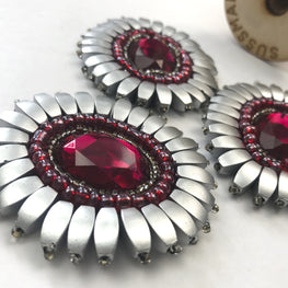 "Beaded Jewel Applique - Ruby & Silver - 2.5"" x 2"""