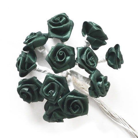 Flowers - Satin Roses on Wire Stem - 12pcs - Dark Green - 15mm