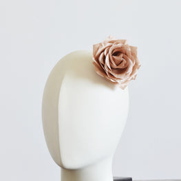 "Millinery Flower - Pointy Blossom Rose - Mocha Brown (3.5"")"