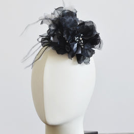 "Millinery Flower - Christina Organza & Ostrich Feathers Flower - Black (6"")"