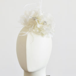 "Millinery Flower - Christina Organza & Ostrich Feathers Flower - Ivory (6"")"