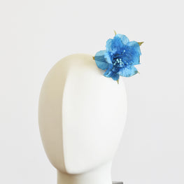 "Millinery Flower - Hibiscus Flower Applique - Turquoise (2.5"")"