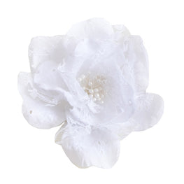 "Millinery Flower - Eyelet Lace Shabby Chic Rose - White (5"")"