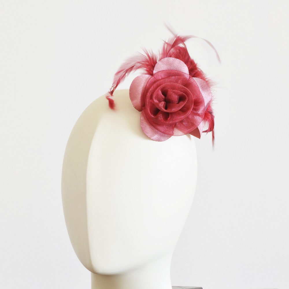 Millinery Flower - Prim Rose Feathered Flower - Red (3
