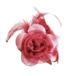 "Millinery Flower - Prim Rose Feathered Flower - Red (3""-6"")"