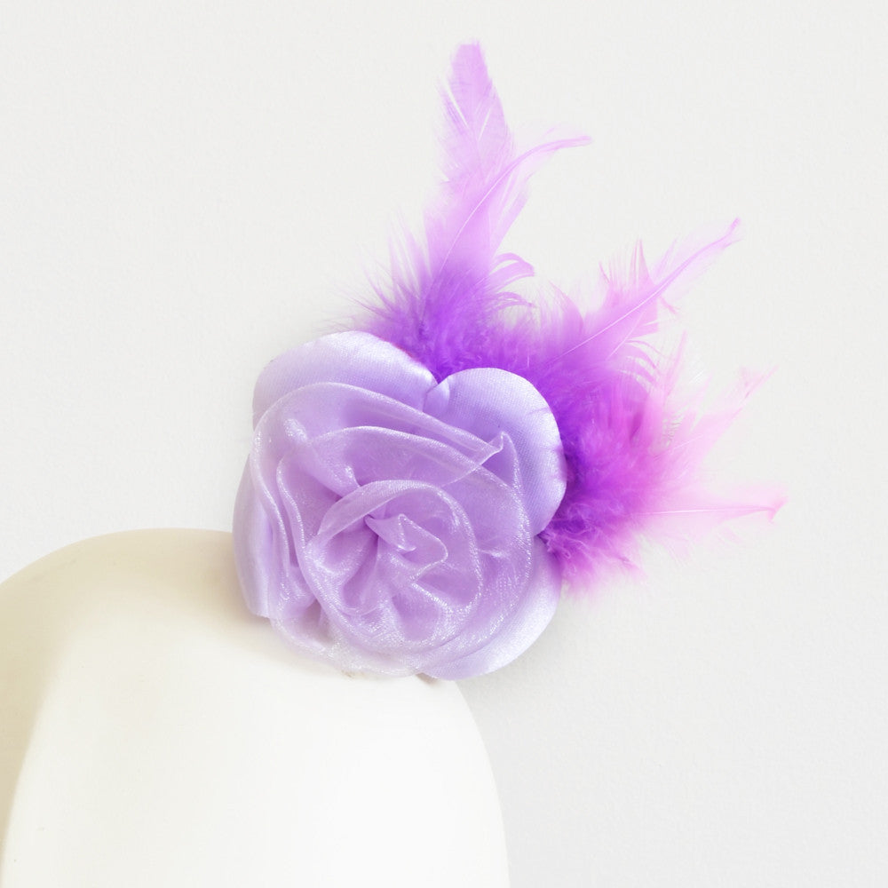 Millinery Flower - Prim Rose Feathered Flower - Lilac Purple (3