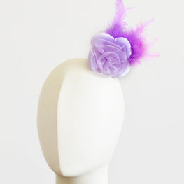 "Millinery Flower - Prim Rose Feathered Flower - Lilac Purple (3""-6"")"