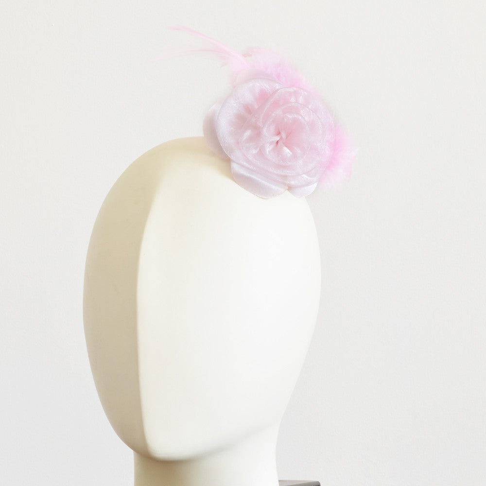 Millinery Flower - Prim Rose Feathered Flower - Pink (3