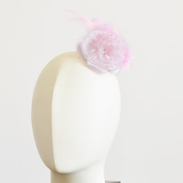 "Millinery Flower - Prim Rose Feathered Flower - Pink (3""-6"")"