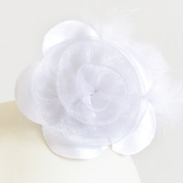"Millinery Flower - Prim Rose Feathered Flower - White (3""-6"")"