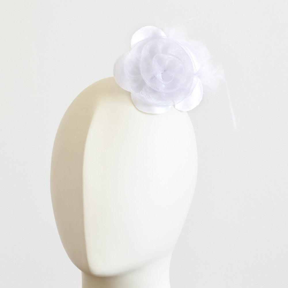 Millinery Flower - Prim Rose Feathered Flower - White (3