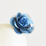 "Millinery Flower - Scallop Blossom Rose - Gradient Blue (3.5"")"
