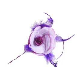 "Millinery Flower - Prim Rose Feathered Flower - Dark Purple (3""-6"")"