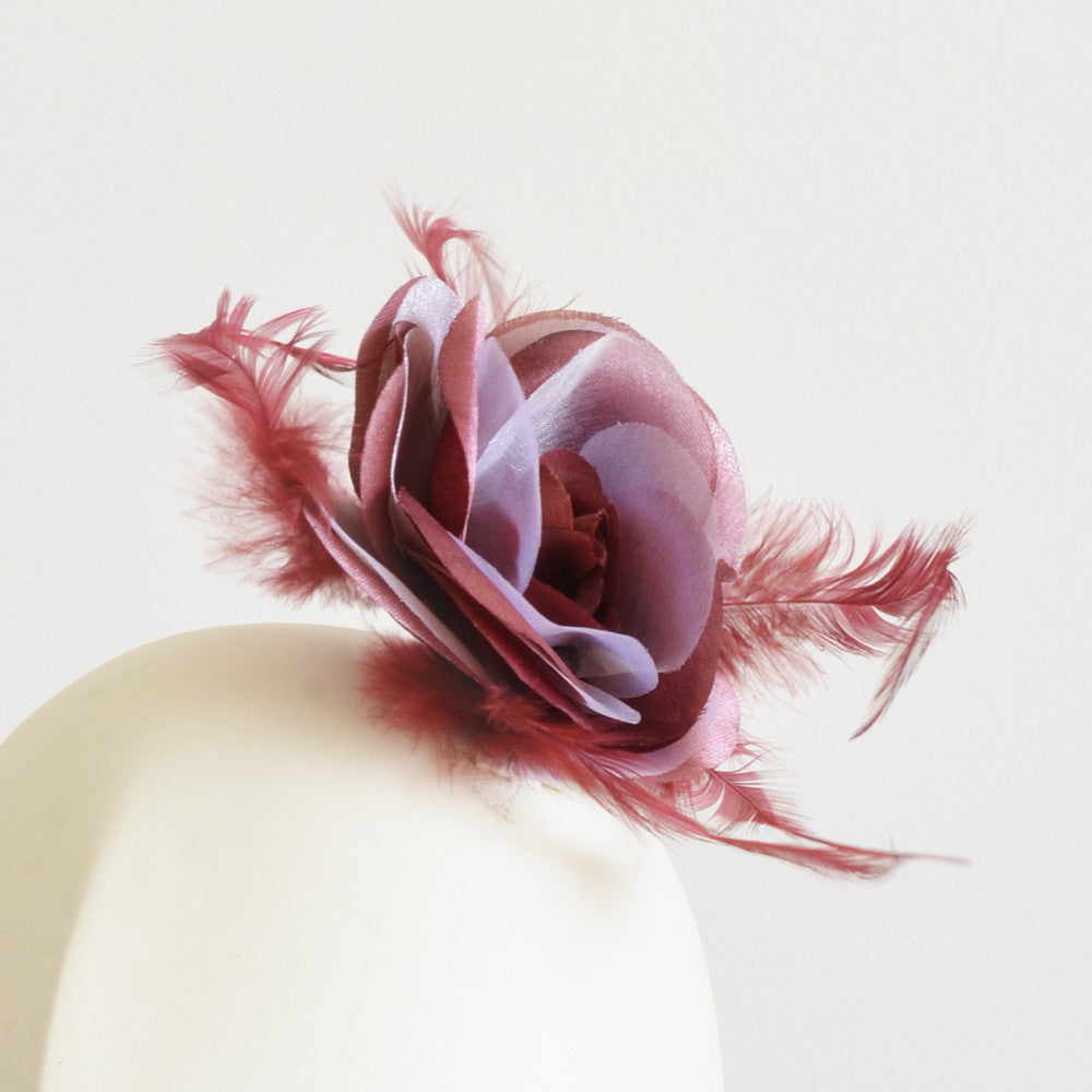 Millinery Flower - Prim Rose Feathered Flower - Maroon Red (3