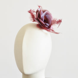 "Millinery Flower - Prim Rose Feathered Flower - Maroon Red (3""-6"")"