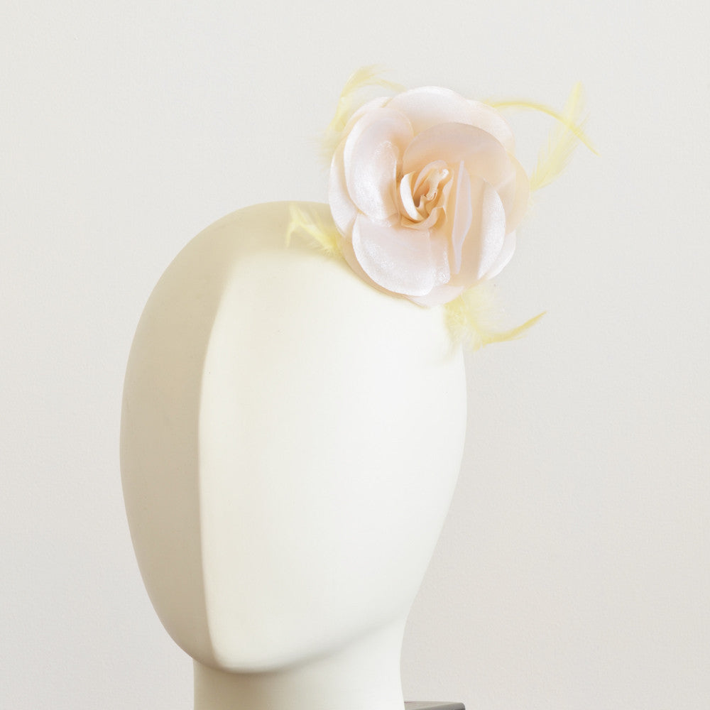 Millinery Flower - Prim Rose Feathered Flower - Ivory & Yellow (3