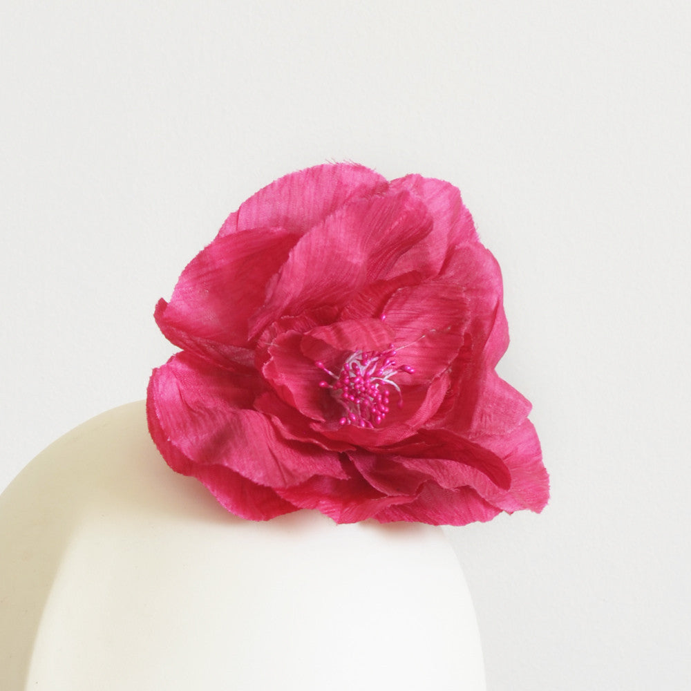 Millinery Flower - Eve Rose Flower - Hot Pink (4.5