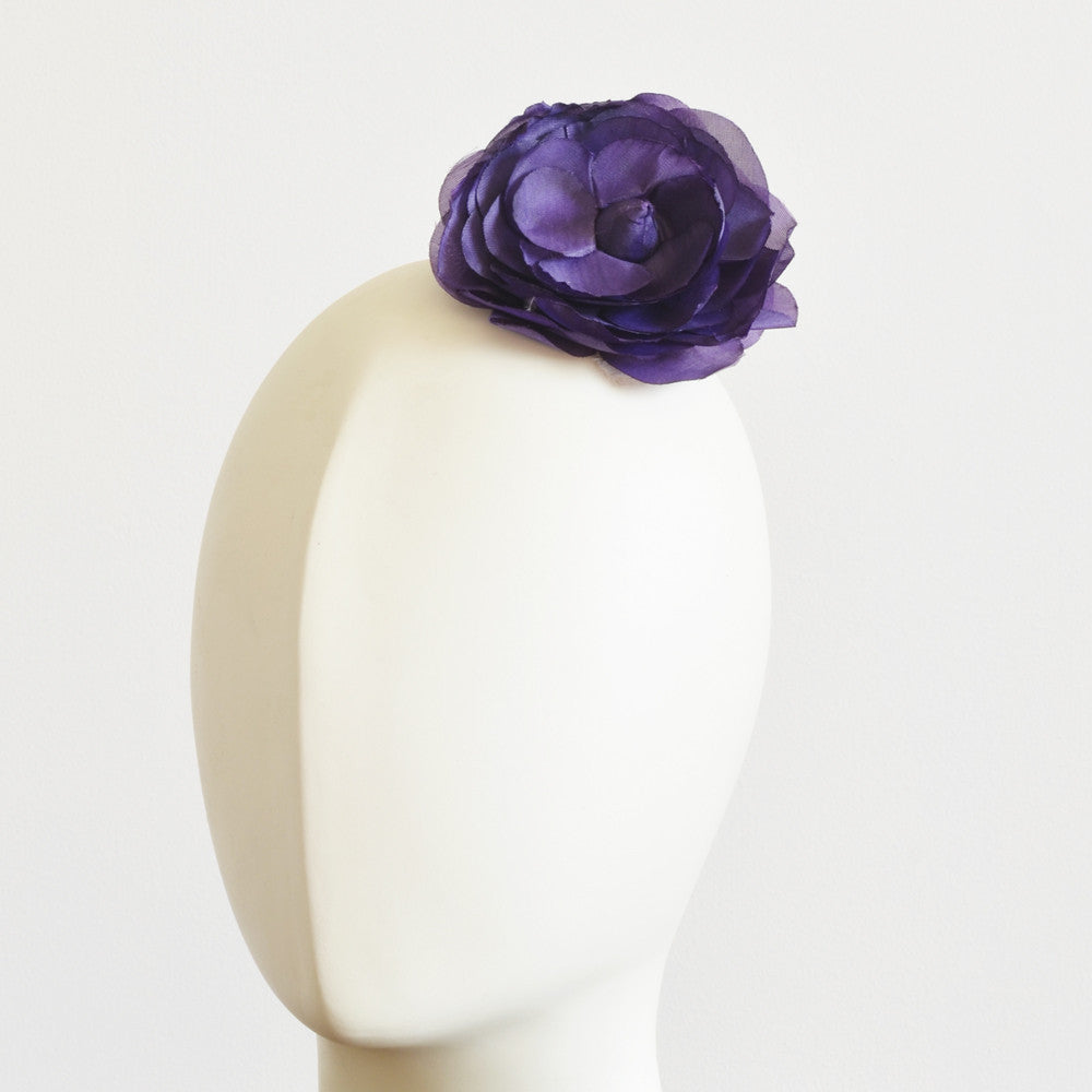 Millinery Flower - Amy Rolled Rose Flower - Purple (3