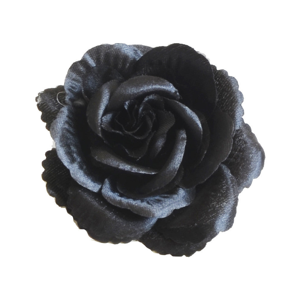 Millinery Flower - Scallop Blossom Rose - Black (3.5
