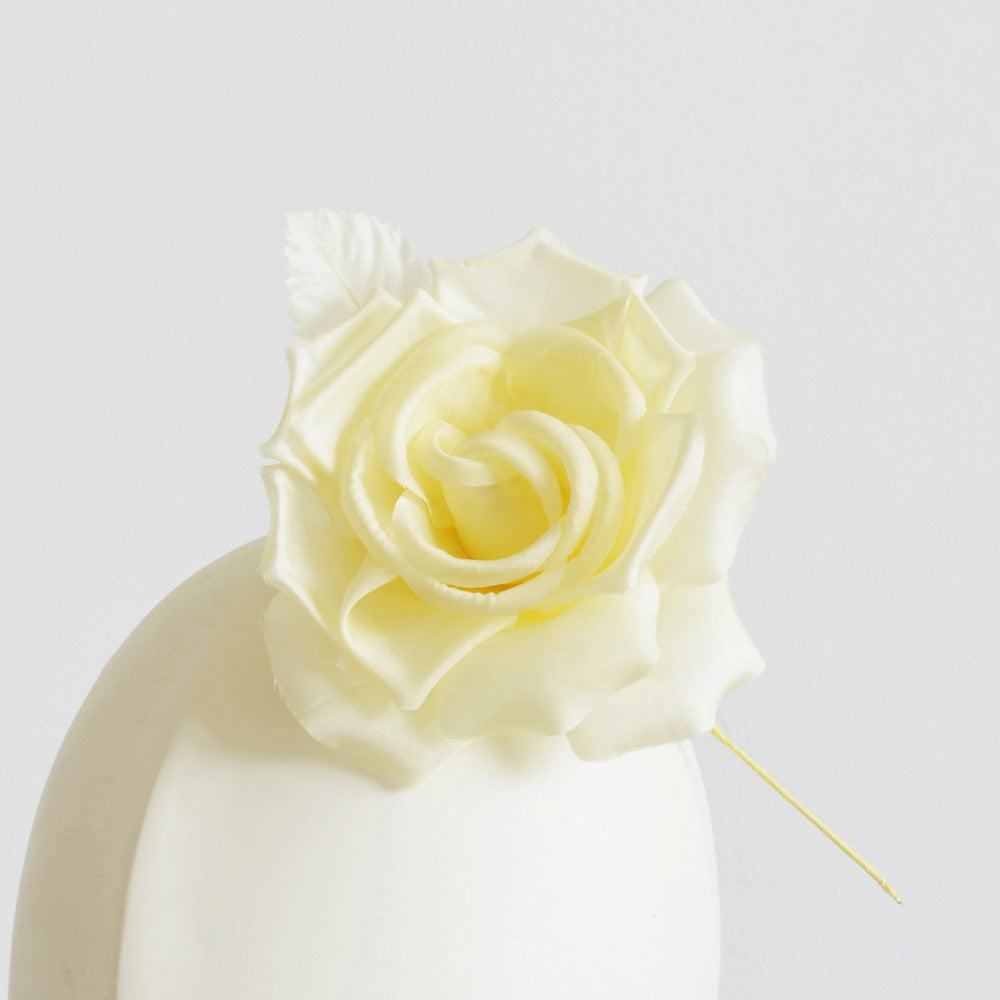 Millinery Flower - Fiona Silk Rose - Cream Yellow (4