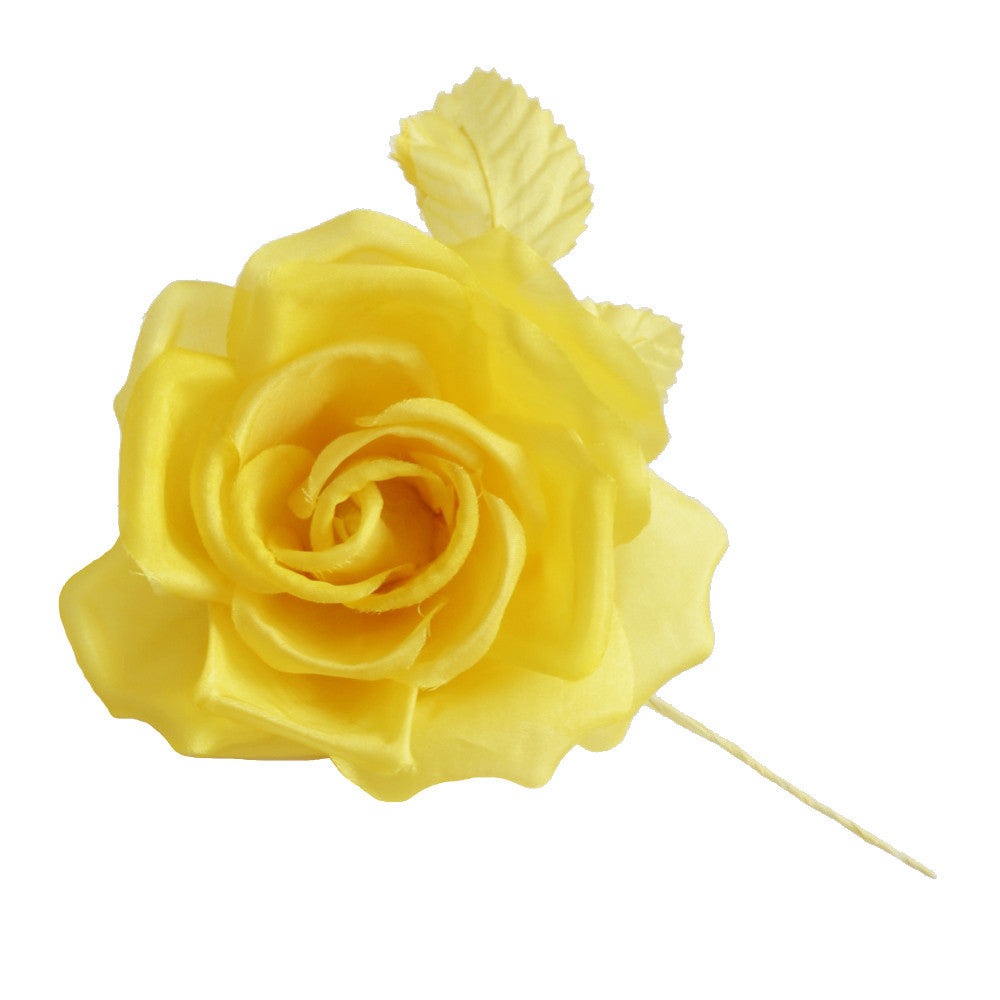Millinery Flower - Fiona Silk Rose - Bright Yellow (4
