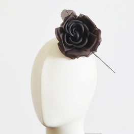 "Millinery Flower - Fiona Silk Rose - Brown (4"")"