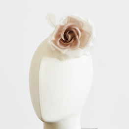 "Millinery Flower - Fiona Silk Rose - Gradient Caramel Brown (4"")"