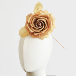 "Millinery Flower - Fiona Silk Rose - Ombre Marigold Yellow (5"")"