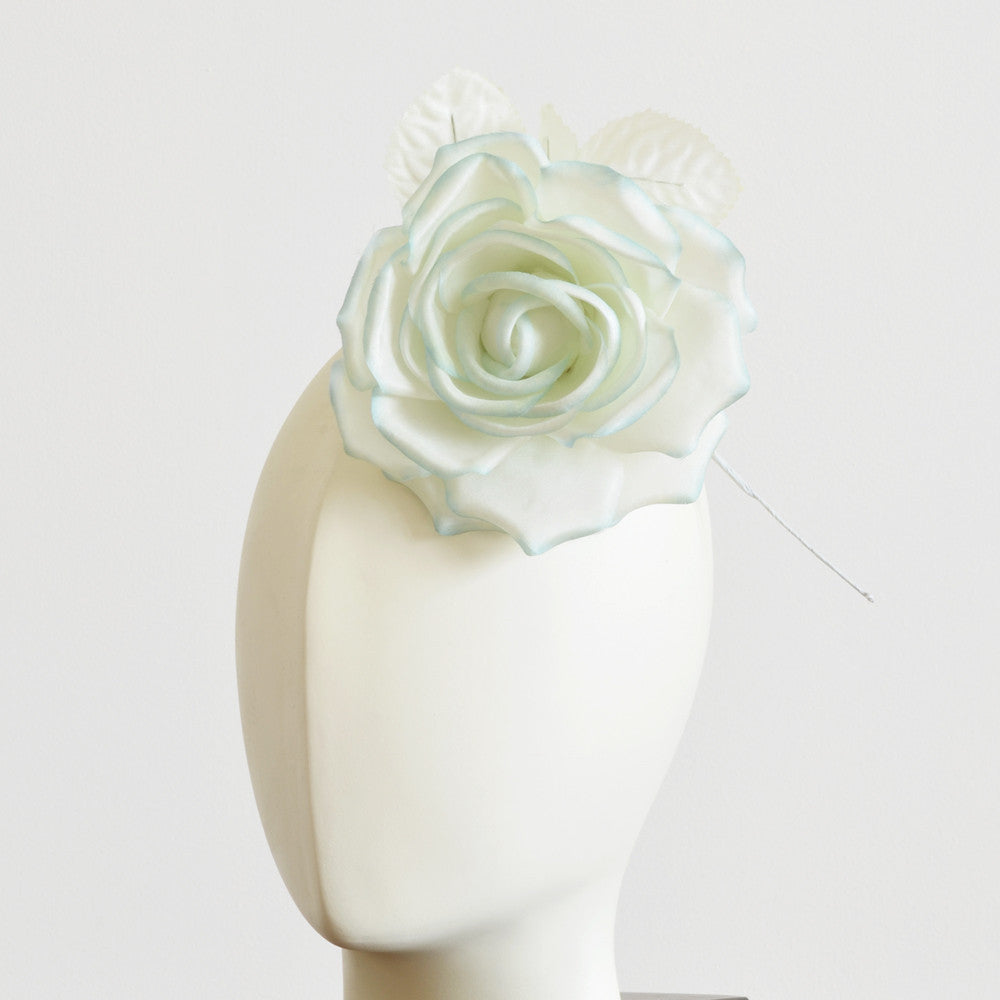 Millinery Flower - Fiona Silk Rose - Ombre Green (5