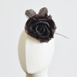 "Millinery Flower - Fiona Silk Rose - Brown (5"")"