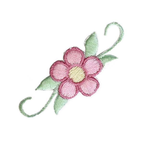 Iron-On Patch - Pink Flower with Green Leaves