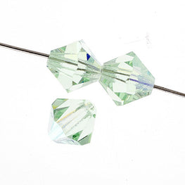 Czech Bicone Crystal Beads - Chrysolite AB - 4mm, 6mm, 8mm (#1701)
