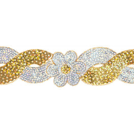 "1.4"" Flower Sequin Swirl Trim - Gold/Silver Hologram"